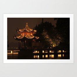 Chinese Pagoda on Lake Art Print