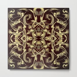 dark red Digital pattern with circles and fractals artfully colored design for house and fashion Metal Print