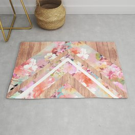 Vintage floral watercolor rustic brown wood geometric triangles Rug