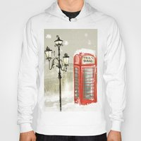 cabin Hoodies featuring Red Cabin by Lucia C