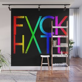 FXCK HXTE - Distressed Rainbow Wall Mural