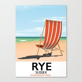 Rye beach travel poster Canvas Print