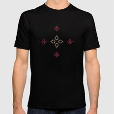 Abstract floral shapes Black Mens Fitted Tee MEDIUM
