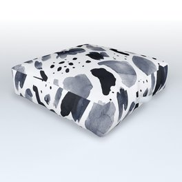 Abstract watercolor monochrome splatters Outdoor Floor Cushion