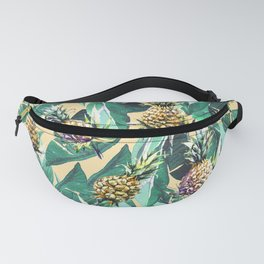 Forest green yellow banana leaves tropical pineapple pattern Fanny Pack