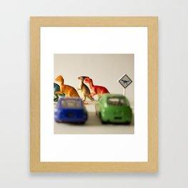 Dinosaurs crossing Framed Art Print