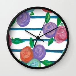Indigo Stripes & Blooms Wall Clock