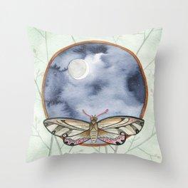 Night Moth Throw Pillow