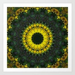 Large Yellow Wildflower Kaleidoscope Art 8 Art Print