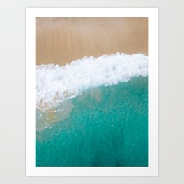 Blue Ocean Crashing on White Sand Beach | Tropical Vacation | Bali Photography | Aerial Photography Art Print