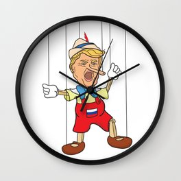 Donald Trump as Lying Pinocchio Puppet Wall Clock