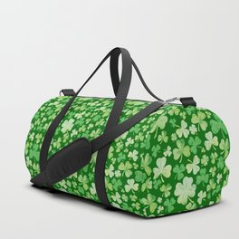 Lucky Green Watercolour Shamrock Pattern Duffle Bag