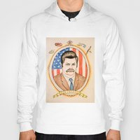 ron swanson Hoodies featuring Ron Swanson by Ethan Gulley