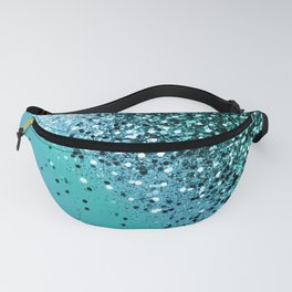 Aqua Blue OCEAN Glitter #1 #shiny #decor #art #society6 Fanny Pack