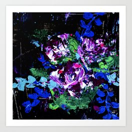 Friday Night - Abstract Flowers - Painting Art Print