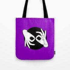 Sign Language (ASL) Interpreter – White on Black 06 Tote Bag