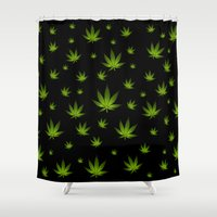 weed Shower Curtains featuring Weed Weed Weed by Spyck