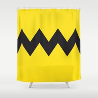 charlie brown Shower Curtains featuring Charlie Brown by Zhi-Yun