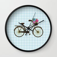 bike Wall Clocks featuring Bike by Juliana Zimmermann