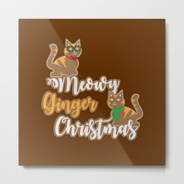 Meowy Ginger Christmas Metal Print