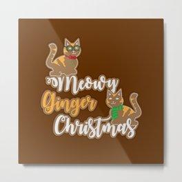 Meowy Ginger Christmas Metal Print