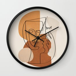 Abstract Clay Faces I Wall Clock