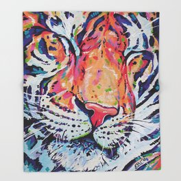 A moment of peace - Tiger painting Throw Blanket