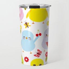 Kawaii colorful blue green orange pink yellow chick Travel Mug