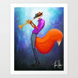 Jazz Fox Painting Art Print