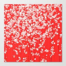 Red Shidare Sakura Canvas Print