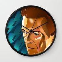 david bowie Wall Clocks featuring Bowie  by Beth Gatza