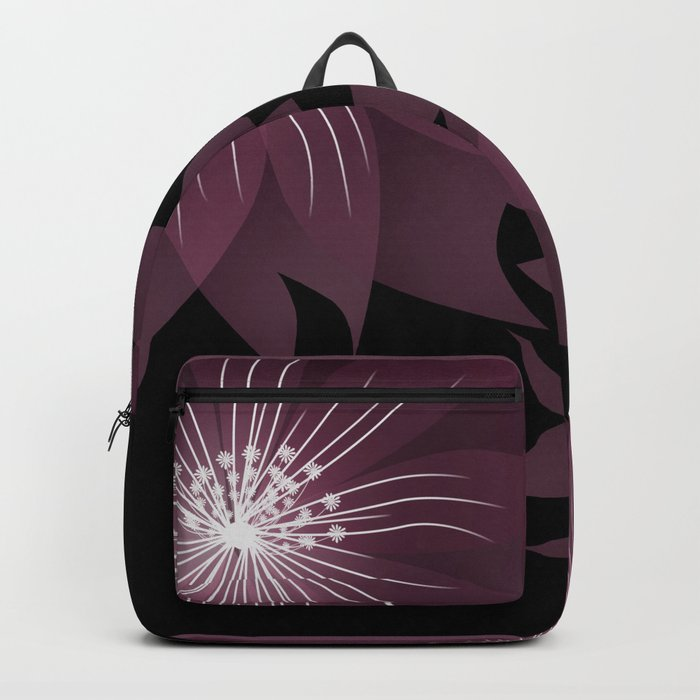 Burgundy flowers on black background . Backpack