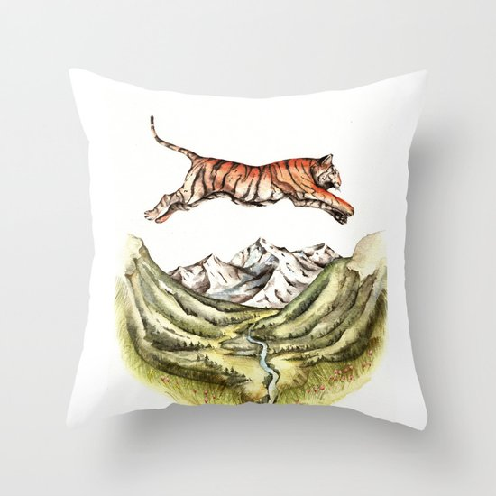 Leaping Tiger Throw Pillow