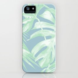 Tropical Leaves Luxe Pastel Sea Turquoise Blue Green iPhone Case