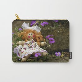 Clothes Peg Doll and Flowers Carry-All Pouch