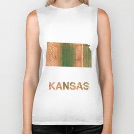 Kansas map outline Peru green streaked wash drawing illustration Biker Tank