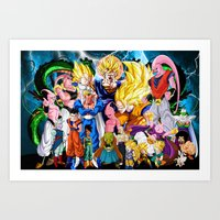 dbz Art Prints featuring DBZ - Buu Saga by Mr. Stonebanks