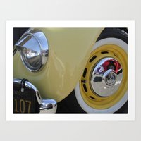 volkswagon Art Prints featuring Yellow Love Bug by wildVWflower