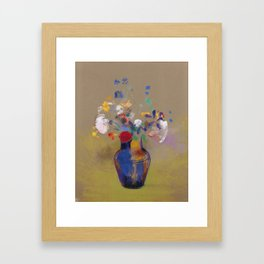 "Odilon Redon ""Flowers on a grey background (Fleurs sur fond gris)"" Framed Art Print"