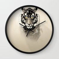 tiger Wall Clocks featuring Tiger by Rafapasta