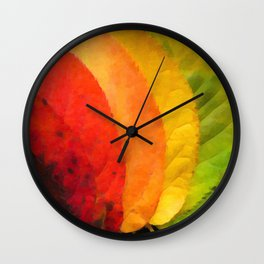 Collection beautiful colorful autumn leaves Wall Clock