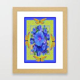 BluE Morning Glories Golden Butterflies Abstract Pattern Framed Art Print