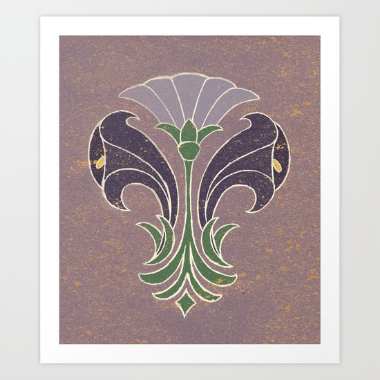 Art Deco Flowers Art Print