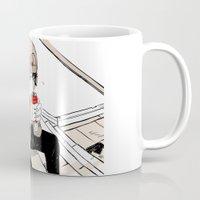 doberman Mugs featuring Monsieur Doberman by Cassandra Jean