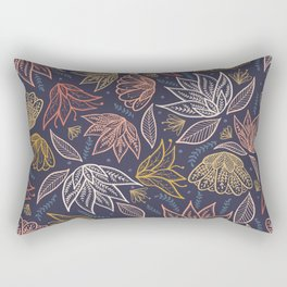 Bohemian Florals in Blue + Coral Rectangular Pillow