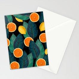 Lemons And Oranges On Black Stationery Cards