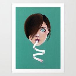 Script Lips Art Print
