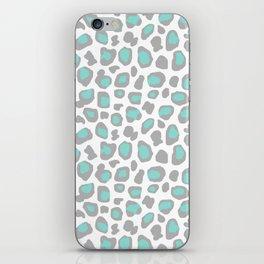 Leopard Animal Print Aqua Blue Gray Grey Spots iPhone Skin