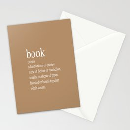 Book Definition (White on Tan) Stationery Cards