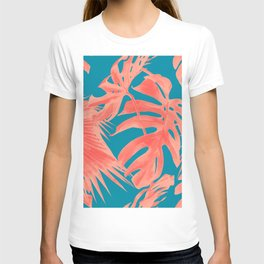 Living Coral Tropical Palm Leaves Monstera III T-shirt